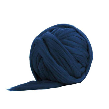 Solid Colored Corriedale Jumbo Yarn - Indigo - 6.6lb (3kg) Special for Arm Knitted Blankets-Fiber-Paradise Fibers