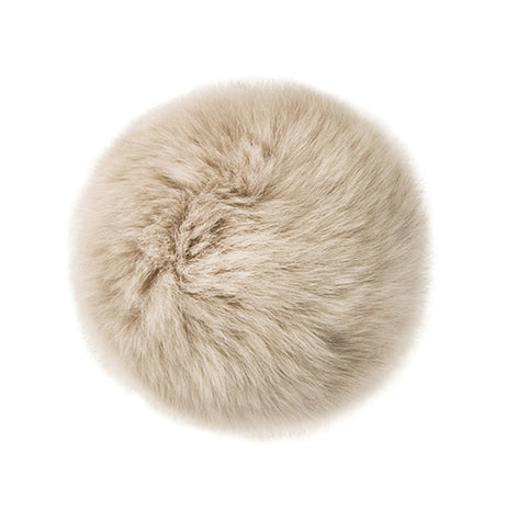 "Rabbit Fur Pom Poms 3"" - Beige-Accessories-Paradise Fibers"