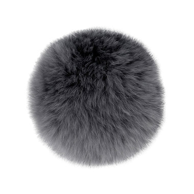 "Rabbit Fur Pom Poms 3"" - Grey-Accessories-Paradise Fibers"