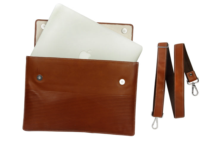 Laptop Sleeves - Stripe Emboss - Tan 13""