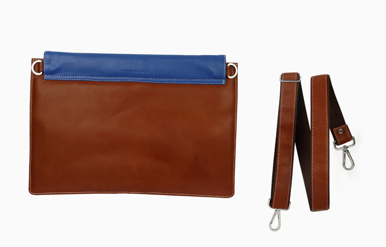 Laptop Sleeves - Stripe Emboss - Tan and Blue 13""