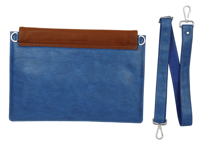 Laptop Sleeves - Moon Emboss - Blue and Tan 15""