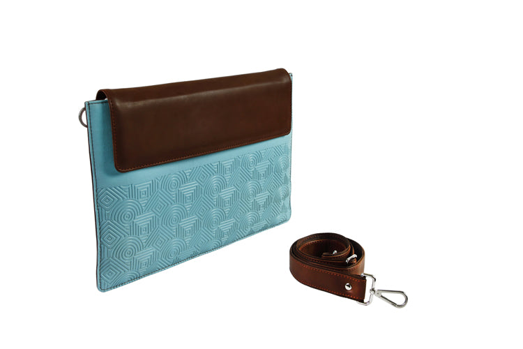 Laptop Sleeves - Zigzag Emboss - Light Blue and Brown 15""
