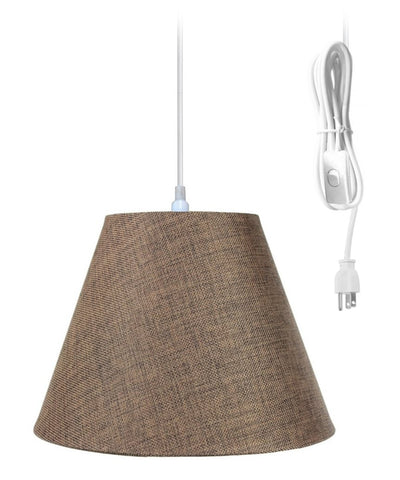 0-000045>1-Light Plug In Swag Pendant Ceiling Light Chocolate Burlap Shade
