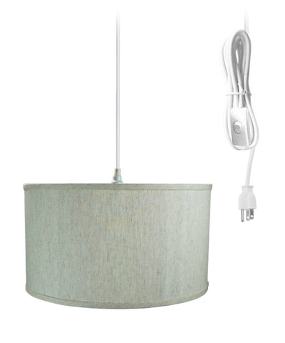 0-000075>1-Light Plug In Swag Pendant Ceiling Light Textured Oatmeal Shade