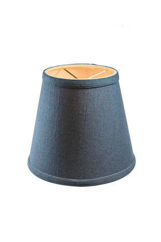 0-002008>5x8x7 Textured Slate Blue Hard Back Lampshade with Gold Lining-Edison Clip On