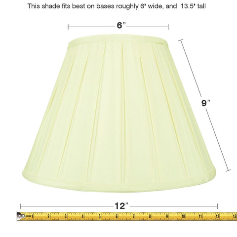0-000589>6x12x9 Eggshell Empire Lampshade with White Liner
