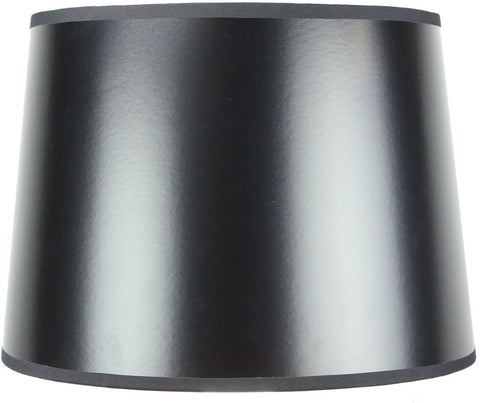 0-000357>12x14x10 Black Parchment Gold-Lined Drum Lampshade