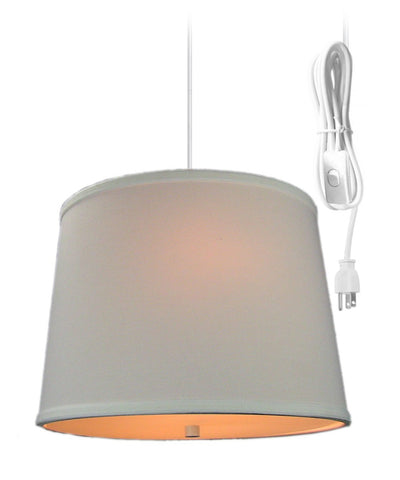 0-002067>White Linen  2 Light Swag Plug-In Pendant with Diffuser