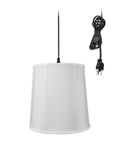 0-002000>1-Light Plug In Swag Pendant Lamp White Shade
