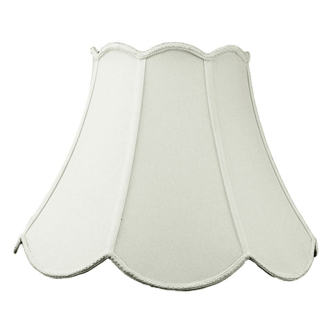 0-000497>9x18x13 Collapsible Scalloped Bell Lamp Shade Premium Light Oatmeal Linen