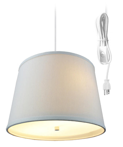0-002065>Light Oatmeal  2 Light Swag Plug-In Pendant with Diffuser