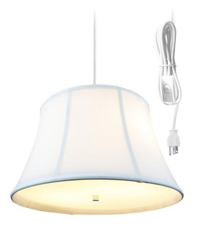 0-002069>White  2 Light Swag Plug-In Pendant with Diffuser