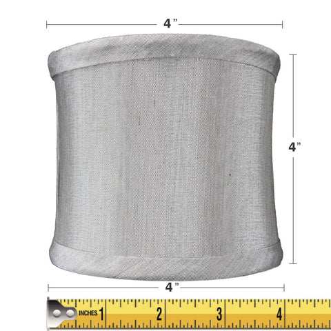 0-000549>4x4x4 Crisp Shantung Clip-On Sconce  Half-Shell Lamp shade Grey