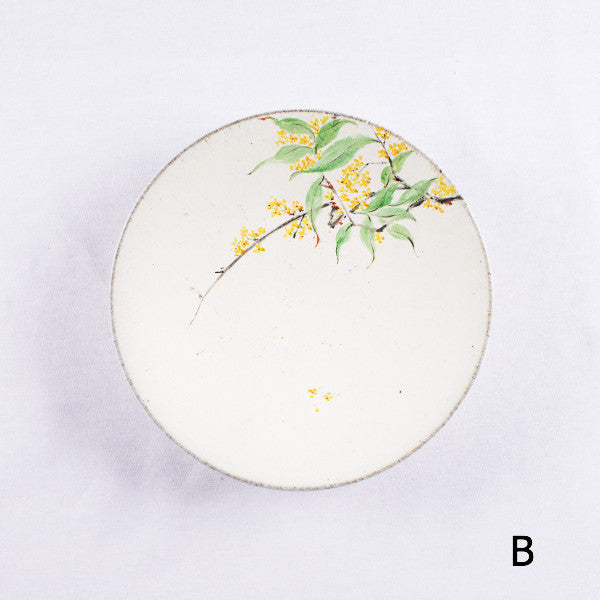 Hand-Painted Artisanal Chinese Plate, Laurel Flowers