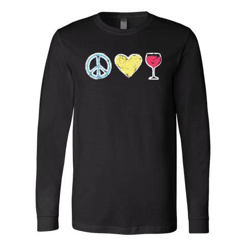 Peace, Love, Wine - Long Sleeve Tee - Lushy Wino