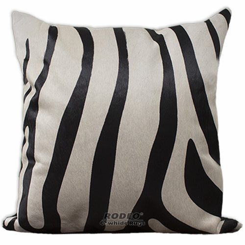 Zebra Print Cowhide Pillow Case - Rodeo Cowhide Rugs