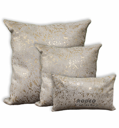 Gold Acid Wash Cowhide Pillow Case 3 Piece Value Set - Rodeo Cowhide Rugs