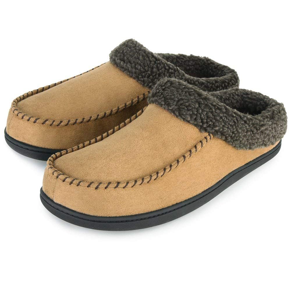 Men's Comfort Suede Memory Foam Slippers Non-skid House Shoes