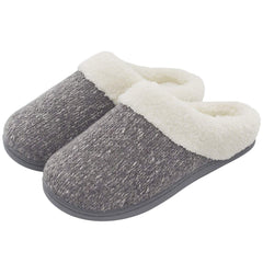 Women's Cozy Woolen Knitted Slippers Plush Slip-on House Shoes Indoor Outdoor