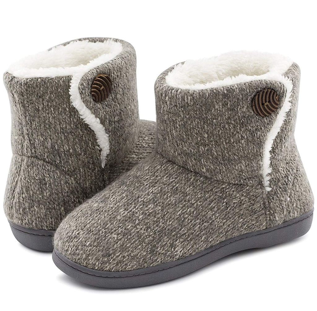 Women's Comfort Woolen Bootie Slippers Plush Slip-on House Shoes Anti-slip