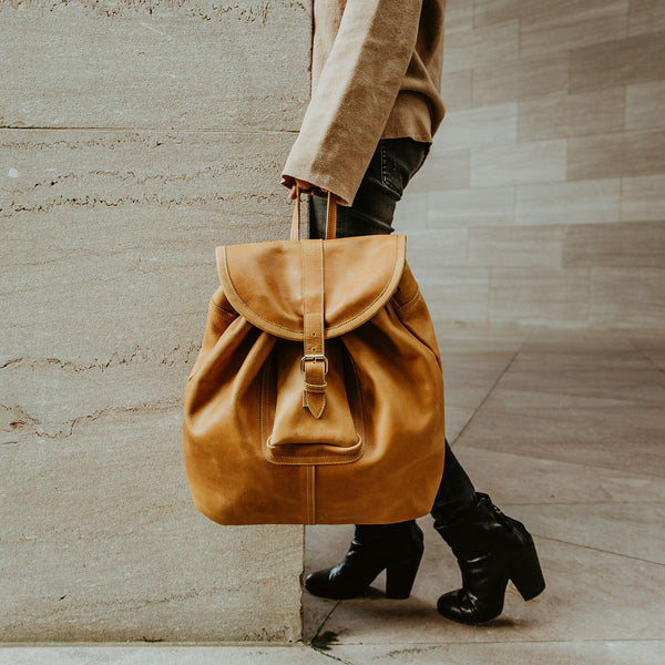 Leather Backpack - Saddle