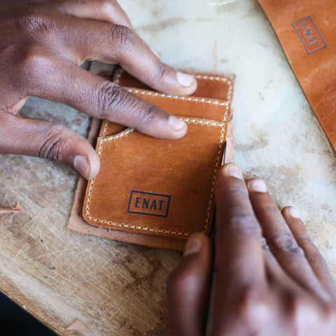Vegetable-Tanned Leather Card Wallet