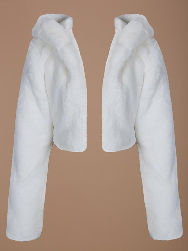 LUXUO WHITE VEGAN FUR HOODED LUXE PREMIUM JACKET - HOUSE OF MAGUIE