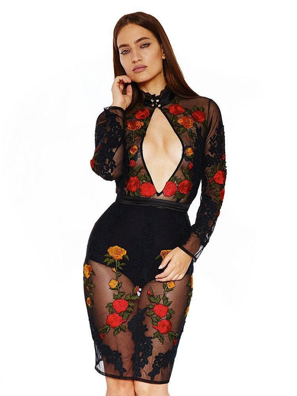 DALIAH BLACK PEEK A BOOB SHEER MESH EMBROIDERY DRESS - HOUSE OF MAGUIE