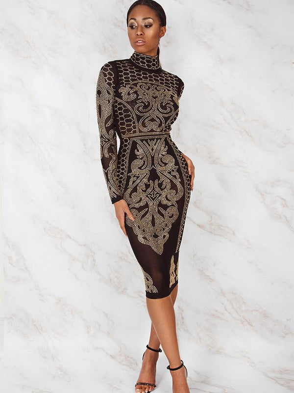 HENRIETTA BLACK & GOLD CRYSTALS STUDDED BODYCON DRESS - HOUSE OF MAGUIE