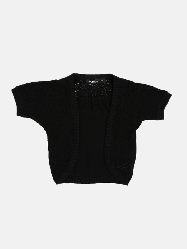 Kids - Girls Cotton Shrug Black