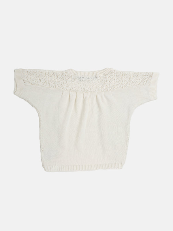 Kids - Girls Cotton Shrug Offwhite