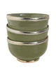 Ceramic Bowl w. Silver Trim, D12 cm, Olive Green