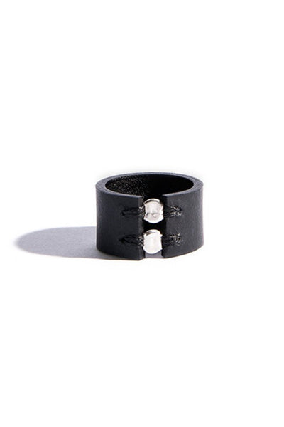 Shop emerging slow fashion accessory brand Aumorfia black leather SPHERES II Ring with sterling Silver - Erebus - 2