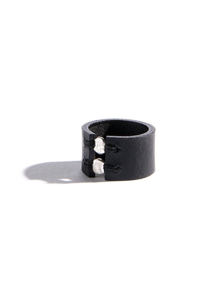 Shop emerging slow fashion accessory brand Aumorfia black leather SPHERES II Ring with sterling Silver - Erebus - 3