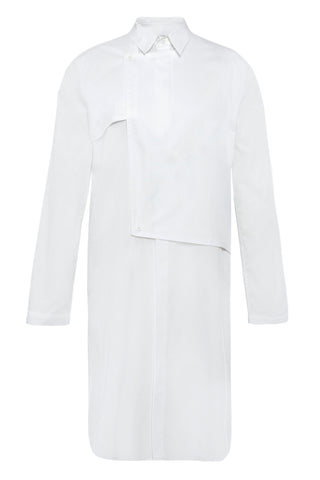 Shop Emerging Unisex Street Brand Monochrome White Trench Shirt at Erebus