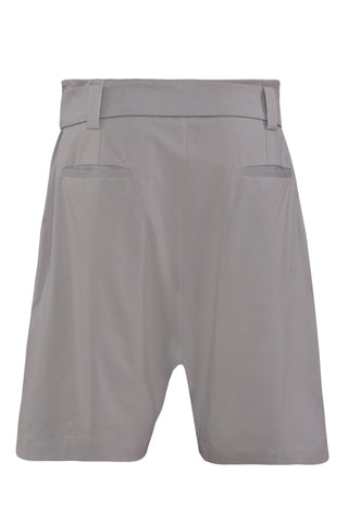 Shop Emerging Unisex Street Brand Monochrome Grey Belted Gusset Shorts at Erebus