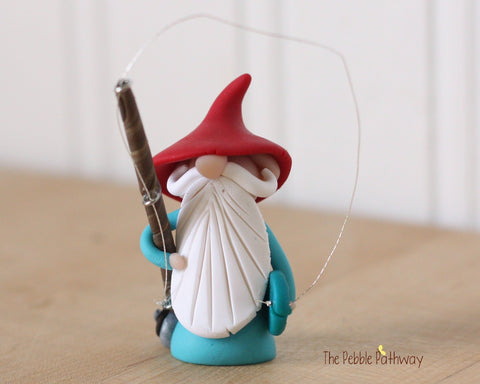 Fisherman Gnome Fishing Gnome - Career Gnomes and Fairies 0304 - ThePebblePathway