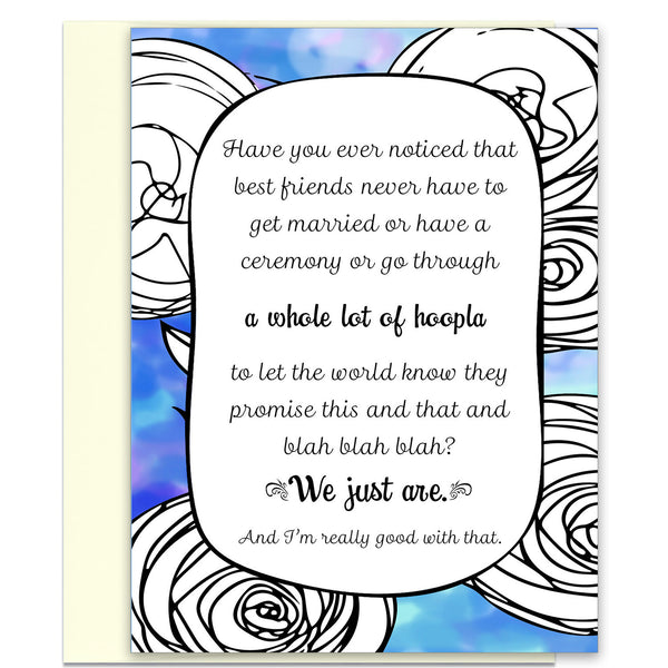 Greeting Card for Best Friend - A Whole Lot of Hoopla in Blue - KatMariacaStudio - 1