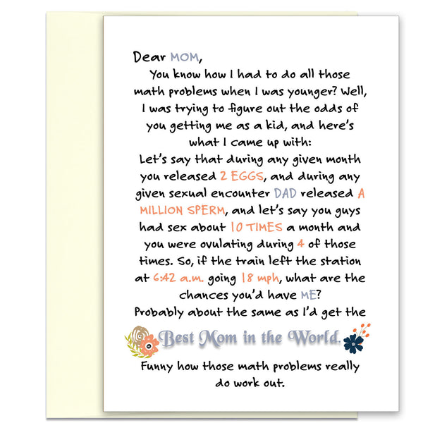 Do The Math - Funny Card for Mom