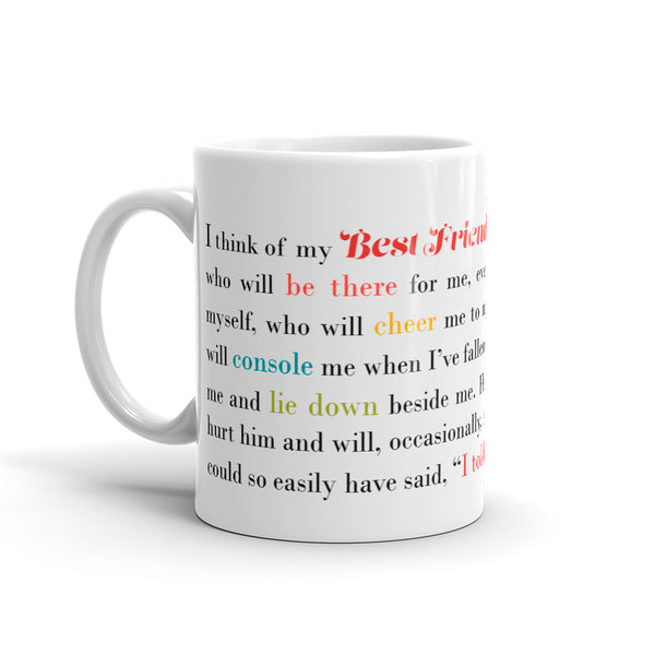 Best Friend Gift - I Think of My Best Friend - Male - Coffee Mug - KatMariacaStudio