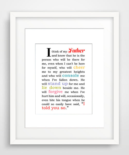 I Think of My Father - Matted Art Print Gift for Dad