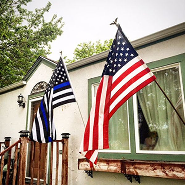 Thin Blue Line And American 3x5 Ft Flag