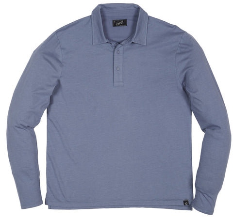 Drake Long Sleeve Micro Stripe Polo - Slate Blue-Grayers