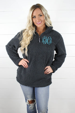 Quarter Zip Sherpa Pullover WITH Monogram!!