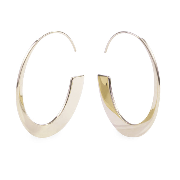 Gold retro modern hoop earrings hypoallergenic T119E002DO MIA JEWELRY