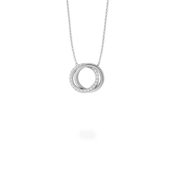 stainless steel double circle pendant necklace with stones T119P001AR MIA Jewelry