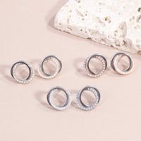 stainless steel circle earrings with stones hypoallergenic T119E009DORO MIAJWL