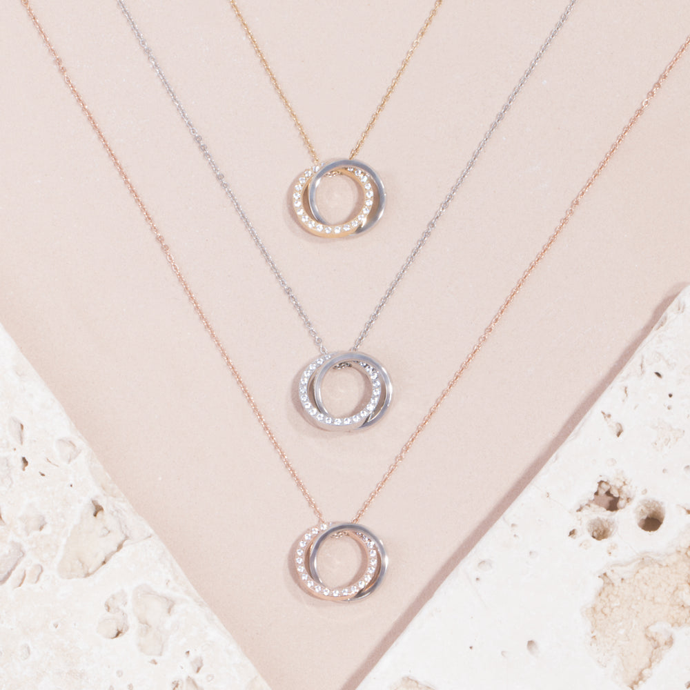 stainless steel gold double circle pendant necklace with stones T119P001DO MIA Jewelry