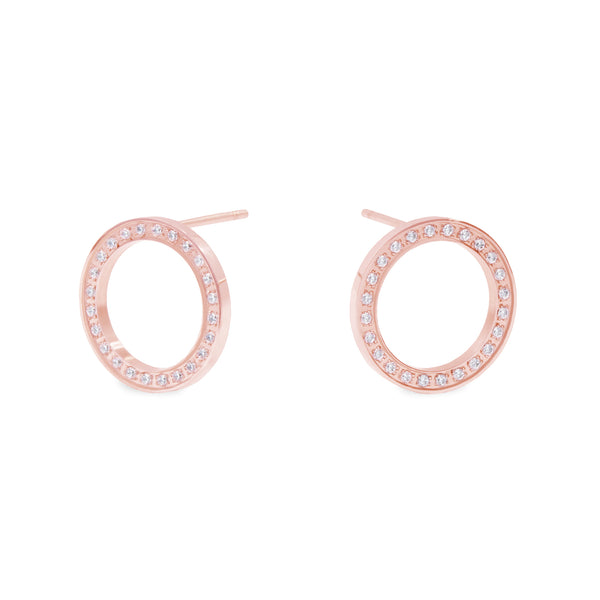 rose gold stainless steel circle earrings stones hypoallergenic T119E008DORO MIAJWL